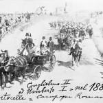 Parata militare a Centocelle con Guglielmo II e Umberto I